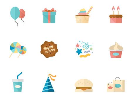 tortas de cumpleaños: Iconos del cumpleaños en colores estilo plano.