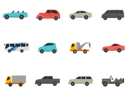 tow truck: Car icons in flat colors style.