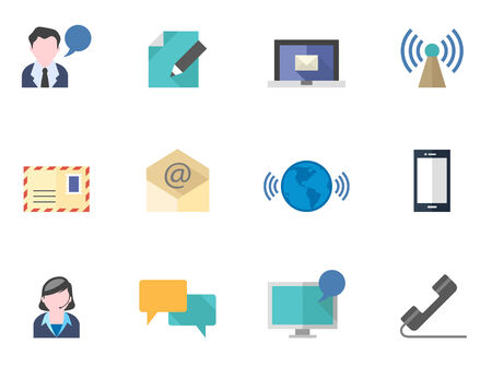 art blog: Communication icon series in flat colors style.