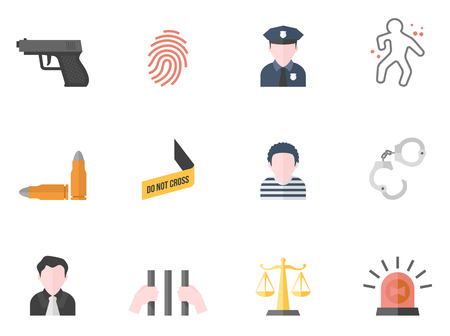 Crime icons in flat colors style. Vector