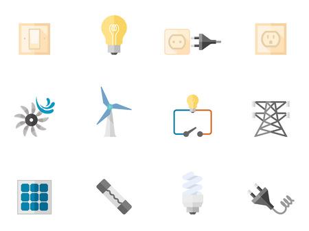 electricidad: Iconos de la electricidad en colores estilo plano. Vectores