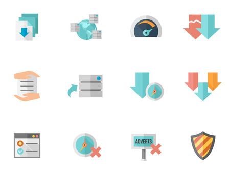 File sharing icon series in flat colors style. Font used: DeJavu Sans Vector