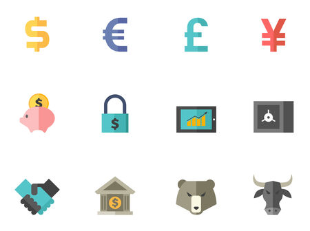 Finance icon series in flat colors style. Font used: Amaranth Vector