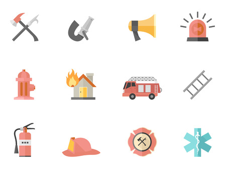 fire safety: Fire fighter icons in flat colors style.