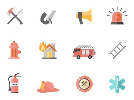 bombero: Iconos de bombero en colores estilo plano. Vectores