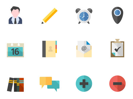 straight pin: Group collaboration icon series in flat colors style.