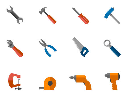 Hand tools icon series in flat colors style. Vector