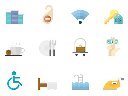 pool: Hotel icons in flat colors style. Illustration