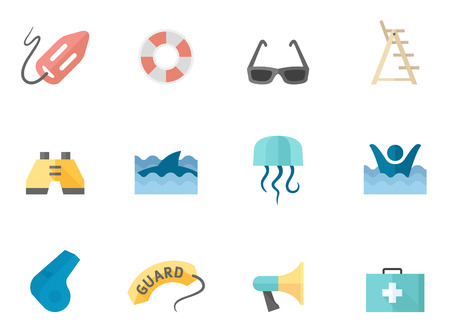 ring buoy: Lifeguard icons in flat colors style. Illustration