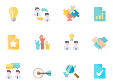 contribute: Management icon series in flat colors style.