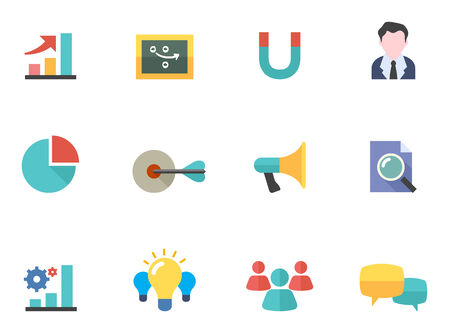 Marketing icons in flat colors style. Illustration