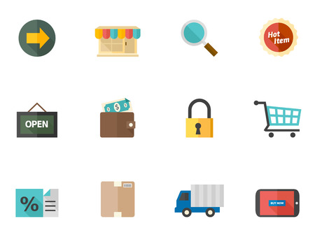Ecommerce icon icon series in flat colors style. Font used: Aller Vector