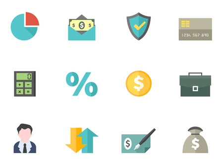 Finance icon series in flat colors style. EPS 10 with. AI, PDF & PNG file of each icon included. Font source: Amaranth, Bitwise Ilustração
