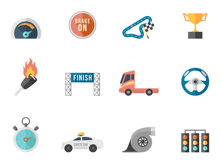 Racing icon series in flat colors style. Font Used: Droid Sans, Dejavu Sans