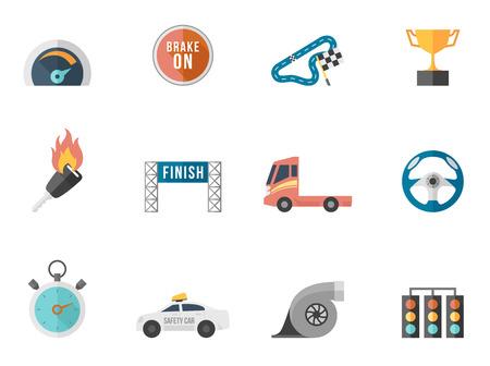 bandera carrera: Racing serie icono en colores estilo plano. Fuentes utilizadas: Droid Sans, Dejavu Sans