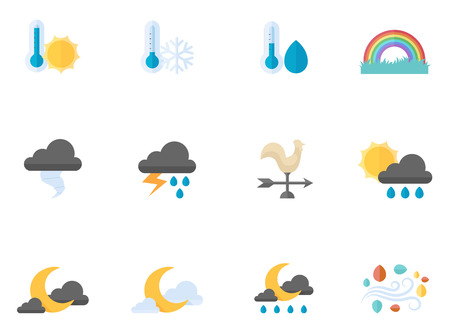 partly: More weather icon series in flat colors style.