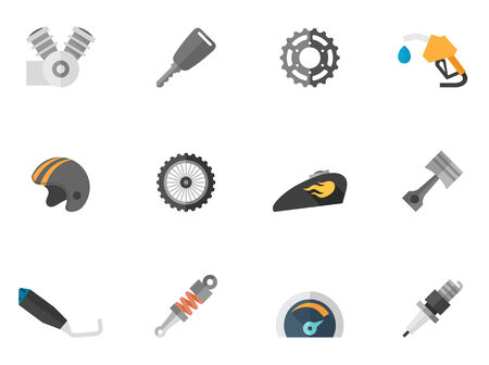 motorcycle helmet: Motorcycle parts icons in flat colors style.
