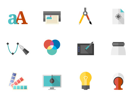 calibration: Printing & graphic design icon series in flat colors style. Font used: Droid- Serif