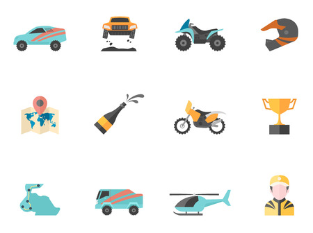 rally: Rally related icons in flat colors style. Illustration