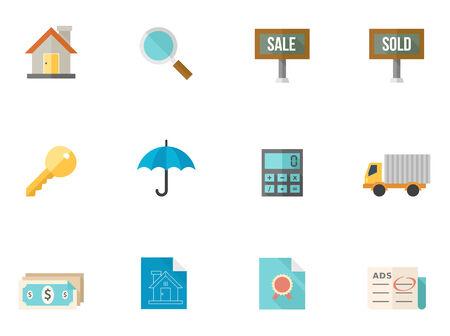 icone immobilier: Immobilier ic�ne s�rie dans le style couleurs plat. Police utilis�e: Sans Dejavu, Aller Illustration