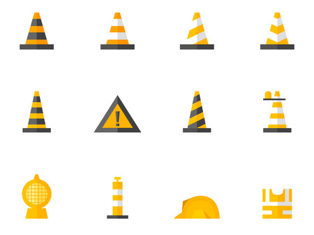 Traffic warning sign icon series in flat colors style.