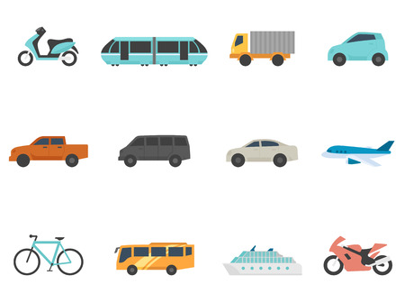 Transportation icon series in flat colors style.