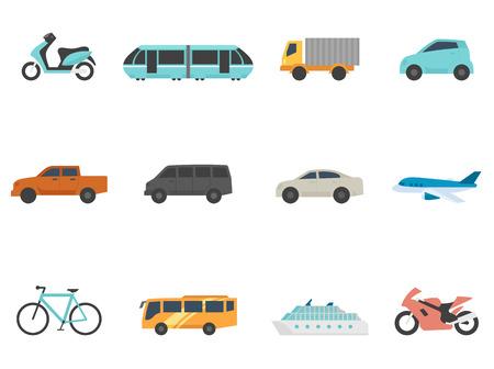 transportation: Trasporti serie icona in stile colori piatta. Vettoriali