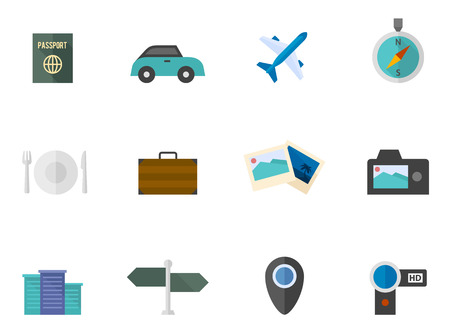 handycam: Travel icon series in flat colors style. Font used: Aller Display
