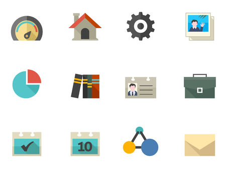 A set icons for mobile apps or personal website in flat colors style.   Vector