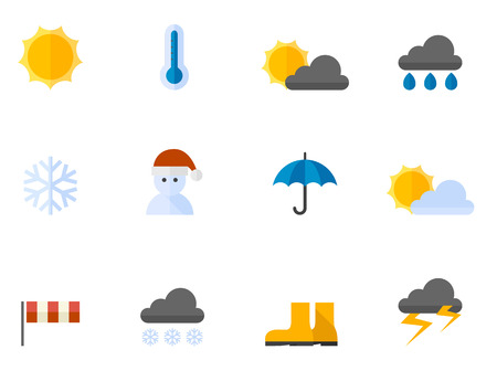 cumulus cloud: Weather icon series in flat colors style.