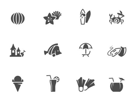 single color: Beach icons in single color.