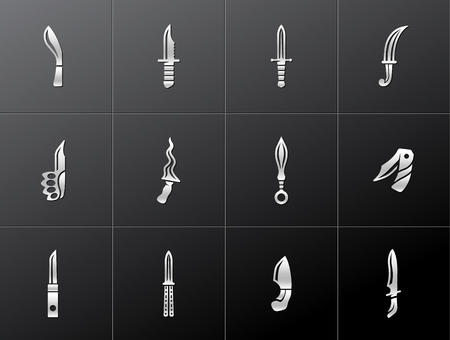 Knife icons in metallic style. Vector