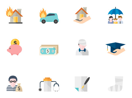 Insurance icons in flat color style Illustration