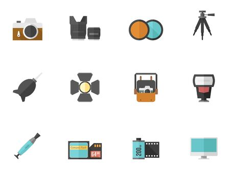 Photography icons in flat color style