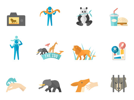 quarantine: Zoo icons in flat color style Illustration