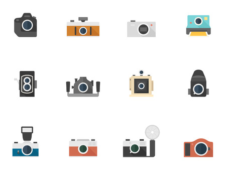 reflex camera: Camera icons in flat color style Illustration