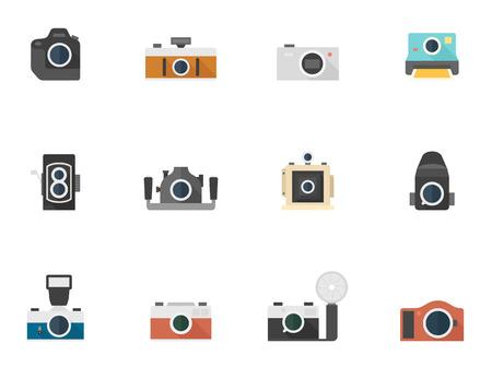 journalistic: Icone della fotocamera in stile piatto a colori Vettoriali