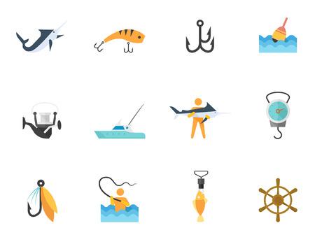 pescando: Iconos de pesca en el estilo de color plano Vectores