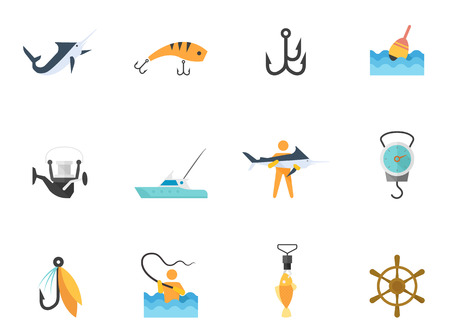 Fishing icons in flat color style Illustration
