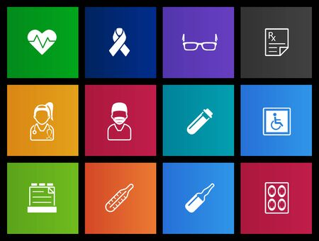 healthcare and medicine: Medical icons in Metro style Illustration