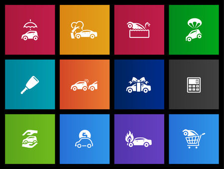 security gap: Car insurance icons in Metro style