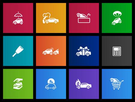 seguros autos: Iconos de seguros de coche en estilo Metro Vectores