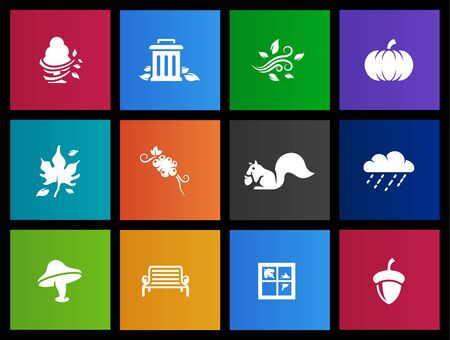 Autumn icons in Metro style Vector