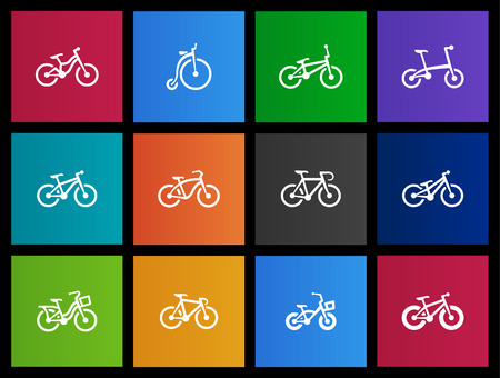 Bicycle icons in Metro style Illustration