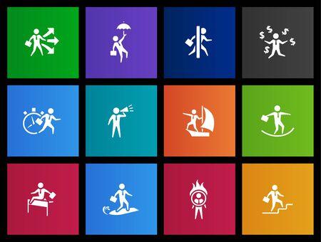 empresario: Iconos de empresario en estilo Metro