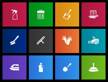 servicio domestico: Herramientas de limpieza iconos serie en estilo Metro Vectores
