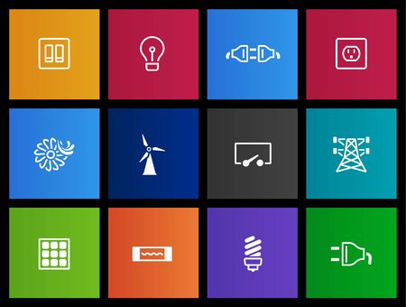 electricidad: Serie iconos de electricidad en estilo Metro
