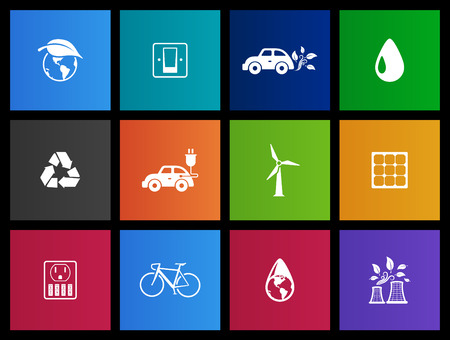 Environment icons series in Metro style