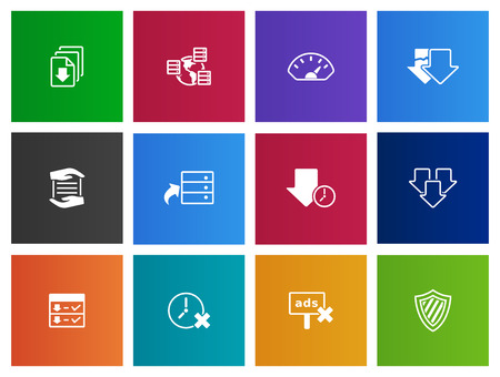 data storage: File hosting icons series in Metro style Illustration