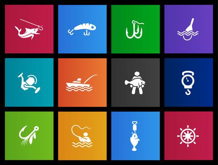 pesca: Serie iconos de pesca en el estilo Metro Vectores